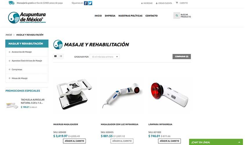 Ejemplo de comercio electrónico desarrollado en PrestaShop